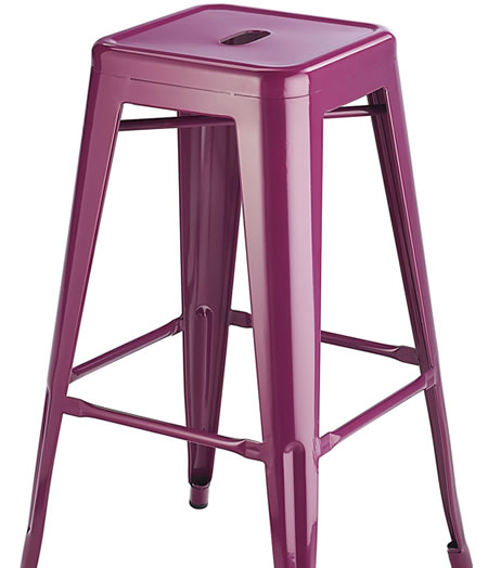 Levlin Metal Frame Modern Kitchen Bar Stool In Purple