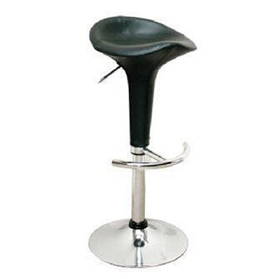 Bowl Modern Bar Stool Height Adjustable - Black Faux Leather Seat