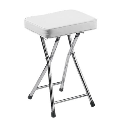 Kawser low folding bar stool padded cream seat