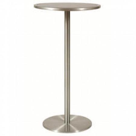 Surga Tall High Poseur Kitchen Dining Bar Table Glass Top Brushed Aluminium Frame