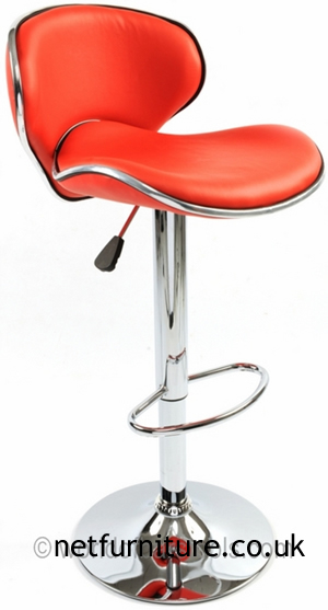 Dove Red Kitchen Bar Stool Padded Back Height Adjustable