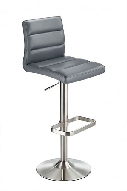 Swank Grey Brushed Steel Kitchen Swivel Bar Stool With Faux Leather Padded Seat