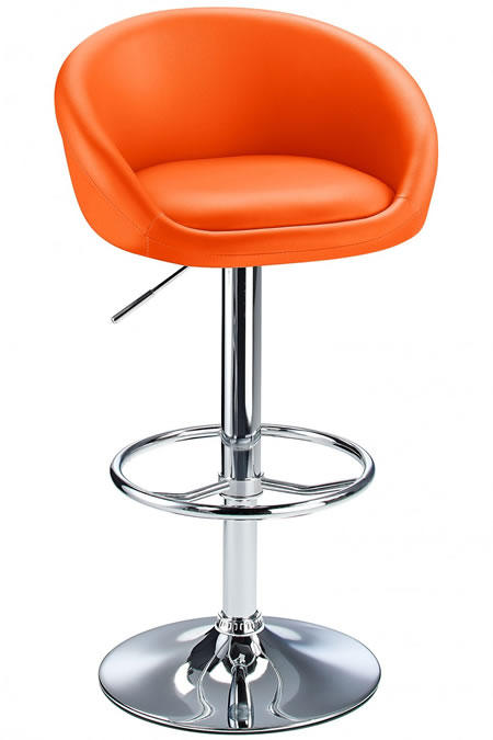 Tuscany Orange Padded Kitchen Bar Stool Height Adjustable