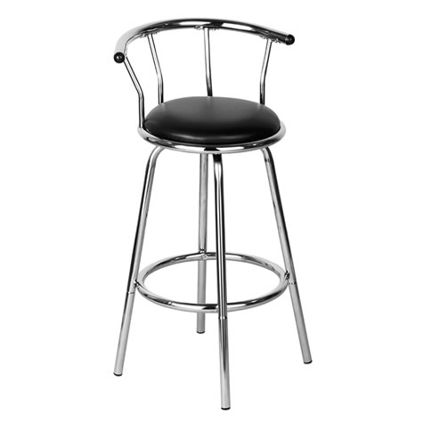 Therone kitchen bar stool black padded chrome swivel stool