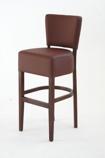 Torrie Wooden Frame Brown Padded Bar Stool With Back Fully Assembled