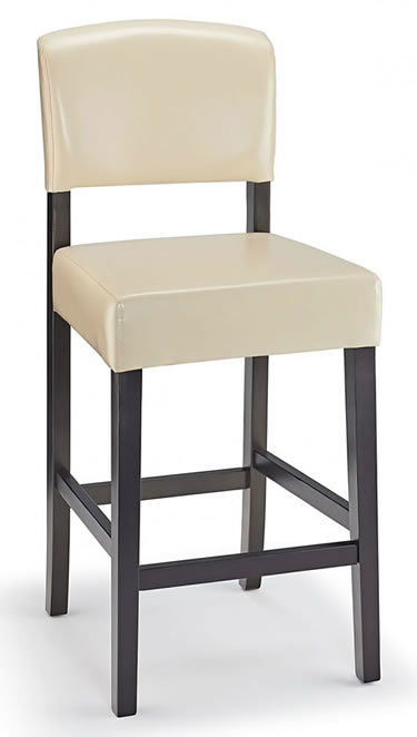 Laponey Kitchen Bar Stool Cream Bonded Leather And Walnut Wood Frame
