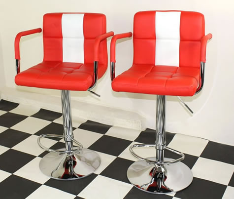 Pair of Tarina Retro Style Kitchen Breakfast Bar Stool American Diner Style Red Padded Seat Height Adjustable