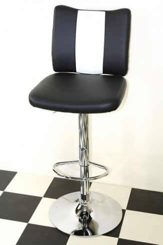 Tarina Retro Style Kitchen Breakfast Bar Stool American Diner Style Black Padded Seat Height Adjustable
