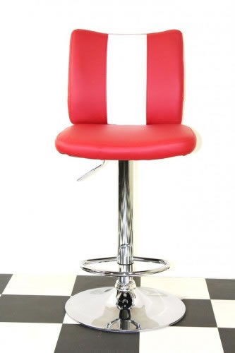 Tarina Retro Style Kitchen Breakfast Bar Stool American Diner Style Red Padded Seat Height Adjustable