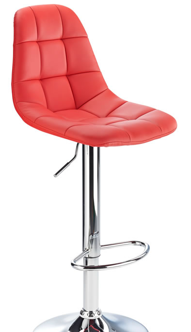 kazan red kitchen bar stool padded seat and back height adjustable chrome frame