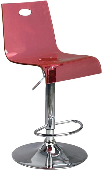 Trayon Translucent Perspex Kitchen Bar Stool  - Red
