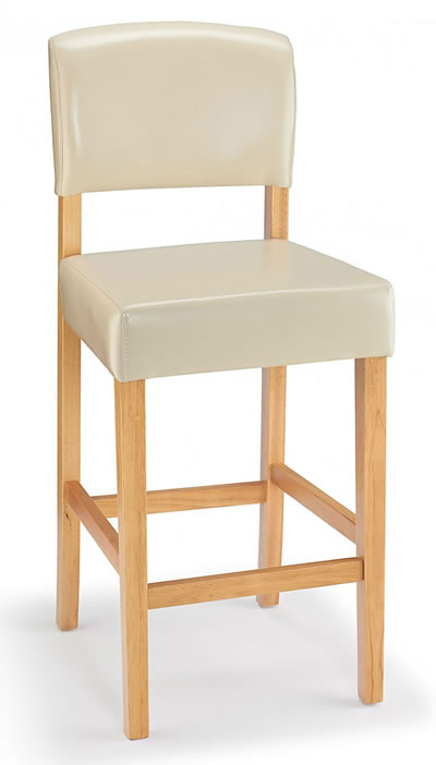 Leponey Kitchen Bar Stool Brown Bonded Leather And Oak Wood Frame