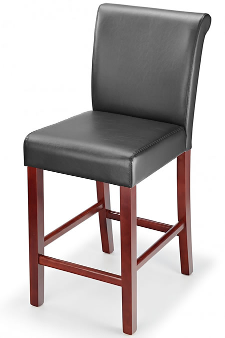 Sayni Walnut Frame Kitchen Bar Stool Black Padded Seat and Back