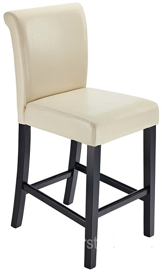 Sayni Walnut Frame Kitchen Bar Stool Cream Padded Seat and Back