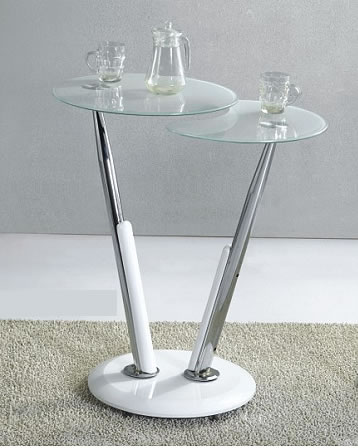 Swirl White Glass Bar Table With 2 Glass Tops
