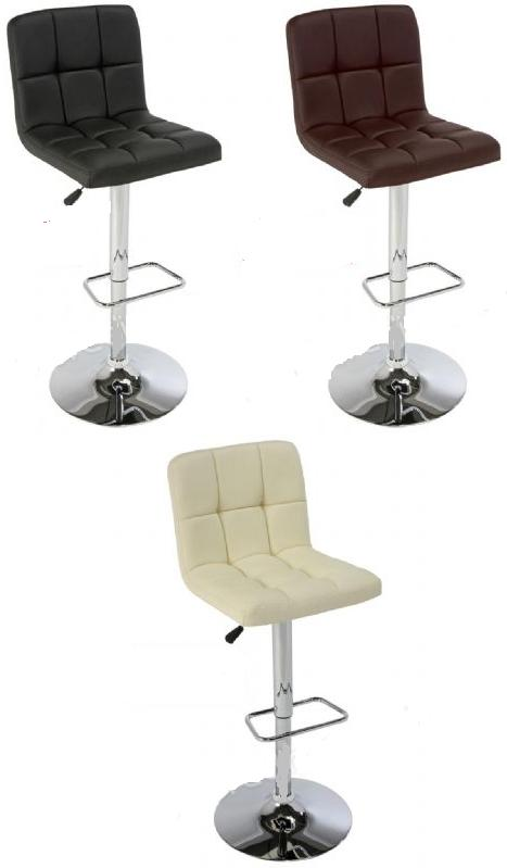 Elegante Padded Stool Chrome and Faux Leather