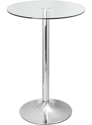 Vatori Tall Poseur Clear or Black Glass Bar Kitchen Table