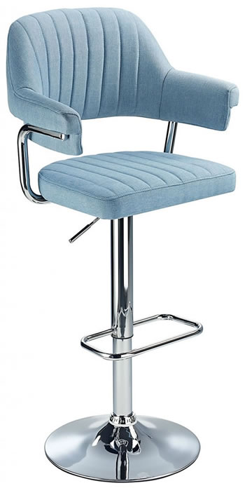 Vibe Retro Style Adjustable Bar Stool with Padded Fabric Seat And Arms Chrome Frame 6 Colours
