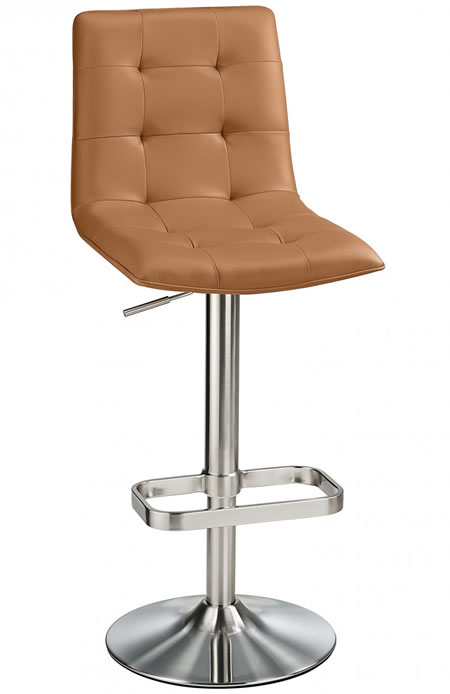 Scaponi Brushed Quality Kitchen Bar Stool- Cognac