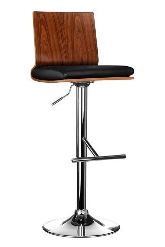 Helmy Adjustable Kitchen Bar Stool Walnut Wood and Black Seat