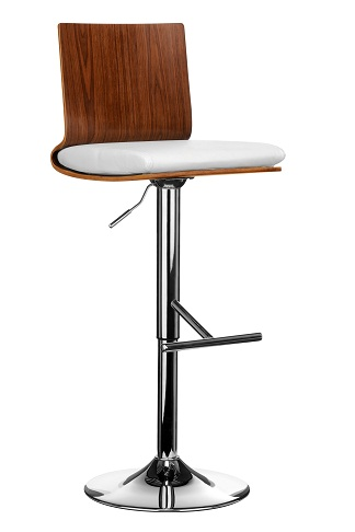 Helmot Adjustable Kitchen Bar Stool Walnut Wood and White Padded Seat