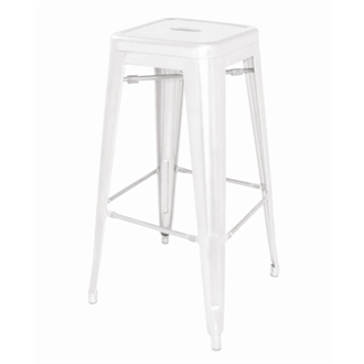 Helio Steel Stool with Back White Set of 4 Fully Assembled