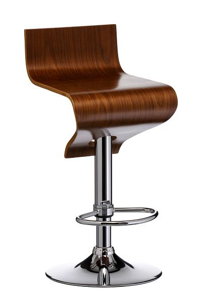 Modo Stylish Walnut Wooden Kitchen Bar Stool Chrome Frame