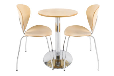 yaron chrome and maple dining set