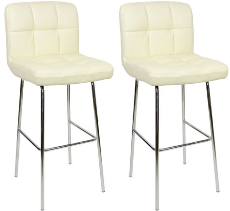 Pair Algari Chrome and Padded Kitchen Breakfast Bar Stools Fixed Height Various   Colours 4 Leg Frame