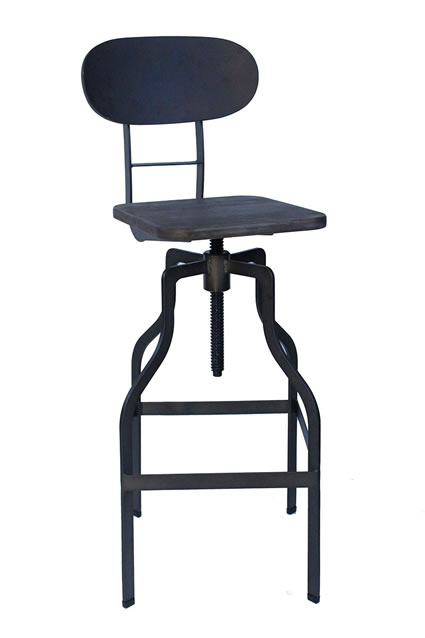 Bolzing Kitchen Bar Stool Retro Vintage Industrial Stool Espresso Wood Seat