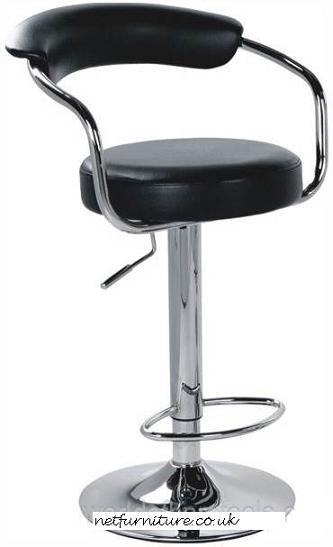 Pinnacle Black Padded Kitchen Breakfast Bar Stool Height Adjustable Arms And Back
