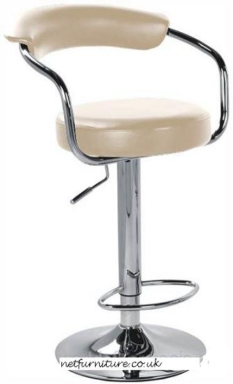 Pinnacle Cream Padded Kitchen Breakfast Bar Stool Height Adjustable Arms And Back