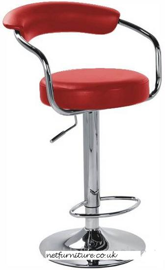 Pinnacle Red Padded Kitchen Breakfast Bar Stool Height Adjustable Arms And Back