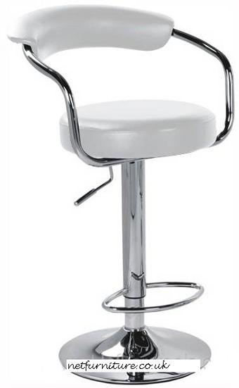Pinnacle White Padded Kitchen Breakfast Bar Stool Height Adjustable Arms And Back