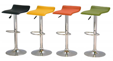 Pair of Zest Kitchen Breakfast Bar Stool Stylish Modern Padded Seat in Orange, Green, Yellow or Black