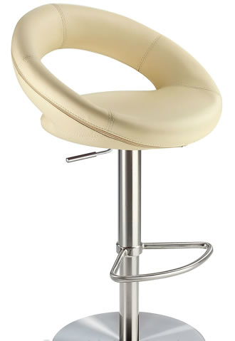 Sorompo real leather kitchen breakfast bar stool cream seat brushed stainless steel frame